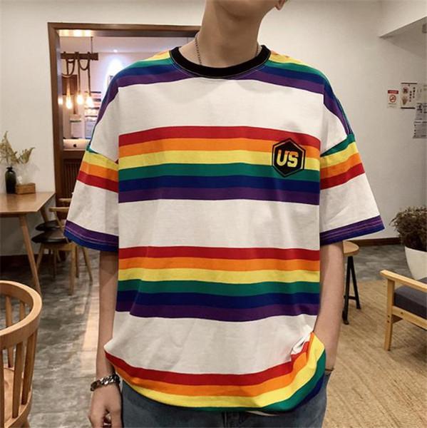 EUA Colorido Listrado Mens Camisetas Impresso Preto Solto Tops Rainbow O Pescoço Quinta Manga Mens Tees