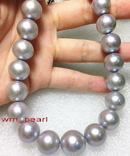 """best selling Fine Pearls Jewelry ROUND 18""""12-15mm NATURAL real south sea SILVER GRAY pearl necklace 14K"""