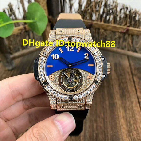 Top mens designer watches Hand-winding Real Tourbillon Sapphire Crystal Rose Gold Diamond Rubber Strap transparent case back Mens Watch