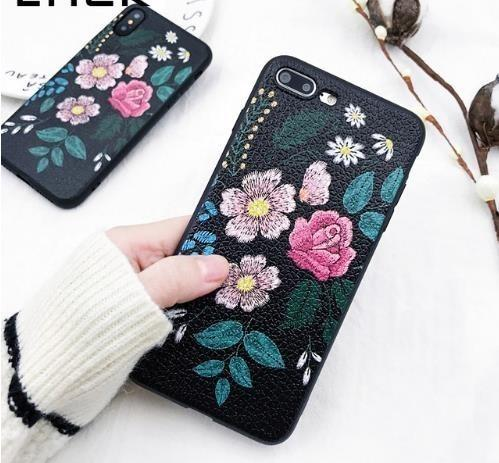 Lack Vintage Art Roses Phone Case For Iphone X Case For Iphone 6 6s 7 8 Plus Cover Classic Black Soft Tpu Cases Flower Leaf Capa