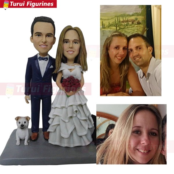 customwedding cake topper figurines personalized with pet dog and bride flowers wedding gifts for bride groom girlfriend present gifts