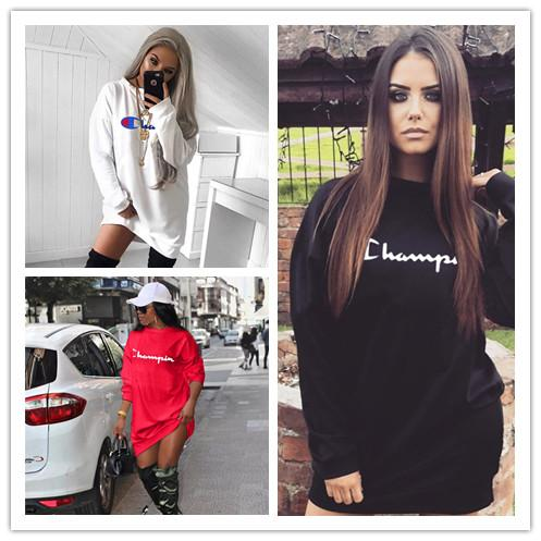 Women's Champion Brand Hoodie Dress Long Sleeve Blouses Oversize Dresses Loose Pullover Overalls Sports Casual Sweater Cloth Tops A422