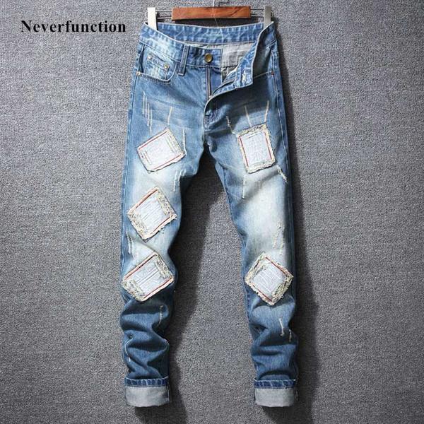 Men New HIP HOP slim fit Personality patch jeans fashion Motorcycle mens blue Destroyed biker Straight denim Trousers Plus Size