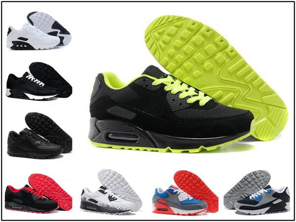 Compre Nike Air Max Airmax 90 2018 Classic 90 Hombres Y Mujeres Zapatillas De Correr Negro Rojo Blanco Entrenador Deportivo Cojín Superficie