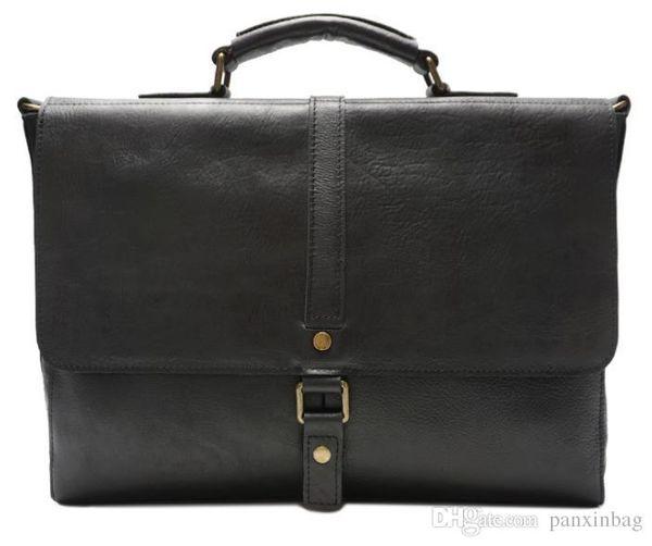 Bolso de mano de piel de vacuno de cuero retro hecho a mano de gran capacidad con un solo hombro inclinado, recubierto de aceite brillante maletín