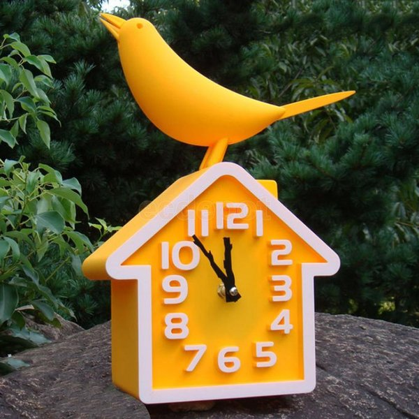 HOME DECOR BIRD HOUSE WALL CLOCK 12H PLASTIC BATTERY POWER KIDS ROOM CLOCK ANALOGUE SILENT SWEEP TIME WATCH