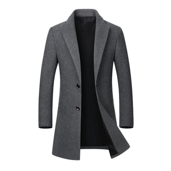 Sıcak Satış Kış Yün Ceket Erkek Yüksek kaliteli Casual Slim Yaka Yün Coat Erkekler Uzun Pamuk Yaka Trençkot Dropshipping