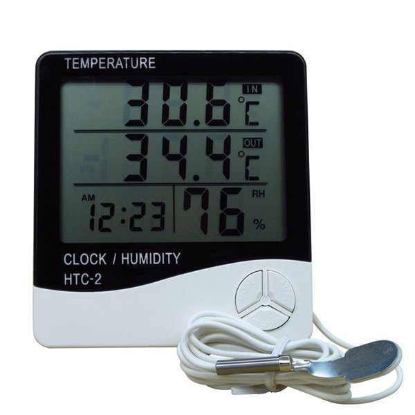 New LCD Digital Thermometer Hygrometer Weather Station Temperature Humidity Tester Clock Alarm Indoor Outdoor Probe HTC-2 50pcs/lot Free DHL