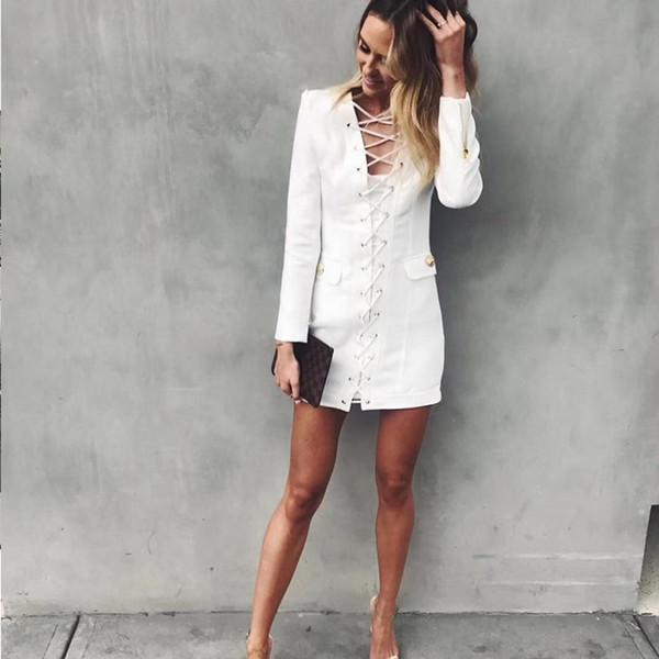 2018 outono inverno dress moda feminina casual magro elegante dress manga comprida com decote em v sexy lace up vestido branco