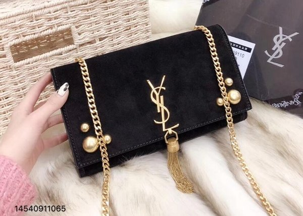 61 YSL women s Genuine Leather chain bag handbag Shoulder Bag Envelope bag  Crossbody bags Shopping messenger ef63374a3d485