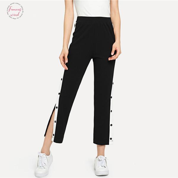 Preto colheita contraste Pants botão Snap colaterais Casual Calças de cintura alta Colorblock Calças Mulheres Autumn Stretchy Athleisure