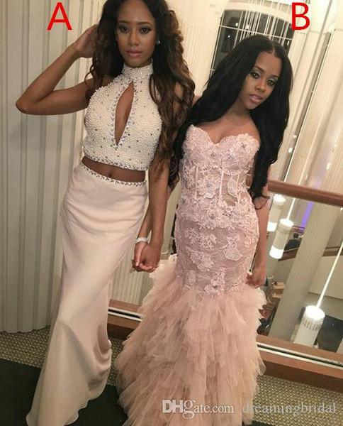 Dois Estilo Diferente Vestidos de Baile 2017 Nova Sem Mangas Querida Até O Chão Beading Lace Applique Formal Evening Vestido de Festa Vestidos