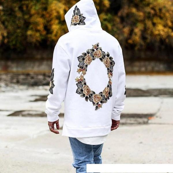 2018 homens Agasalho fora amarelo Branco Hoodies Com Capuz Mens Streetwear Camisola Hip Hop impressão Pullover Moletom Com Capuz moleton moleton