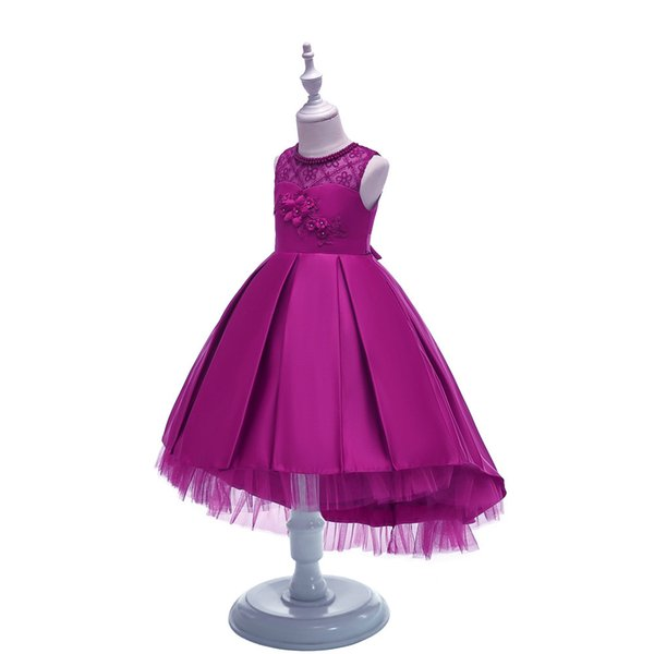 Girl Dress Princess Dress Trailing Performance Suit European American Style Fashion Lovely Elegant Satin Mixed Color 27