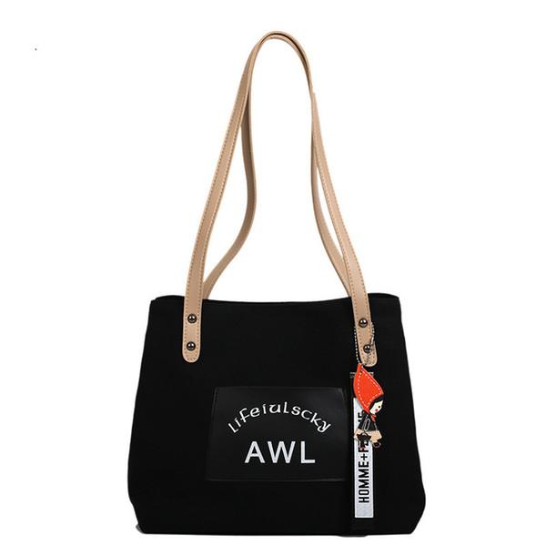 Exotic2019 Woman Canvas Solid Color Mori Original Old Student Handbags Concise Travel Joker Will Capacity Shopping Bag