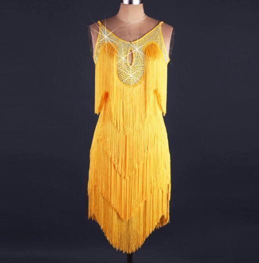 Новый стиль латинского танца костюм спандекс кисточкой камни латинские танцы платье для женщин конкурс платья