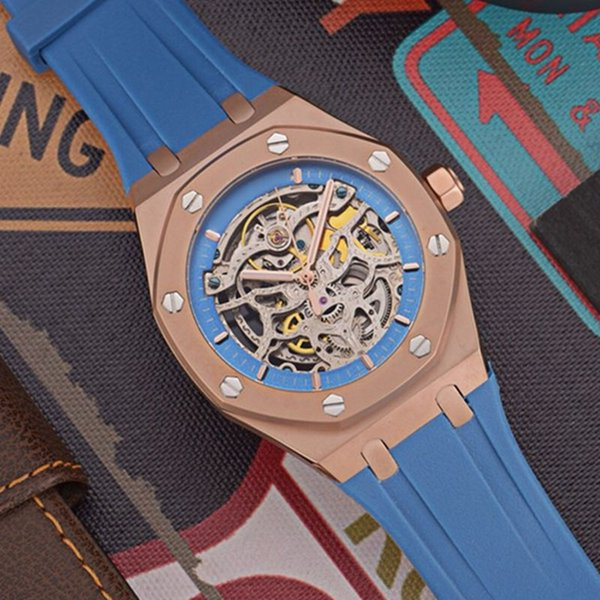 luxury mens watches Automatic mechanical movement 316Lstainless steel case stencil movement blue rubber belt pin buckle strap with box A373