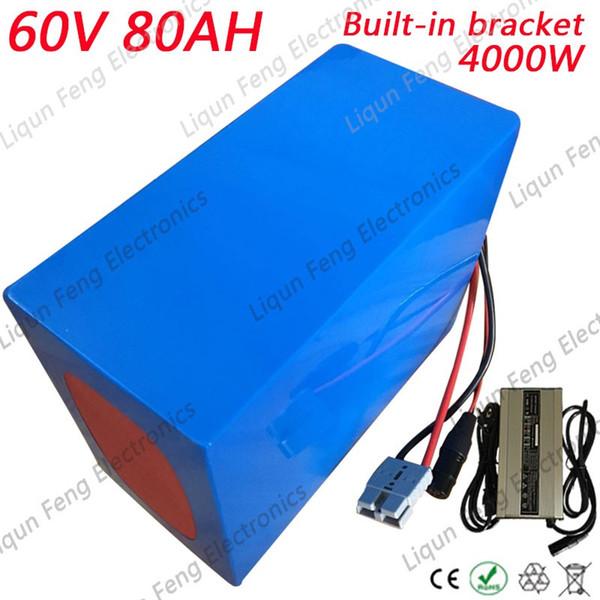 No Tax Big Capacity 60V 80AH Giant Bike Battery 60V 80AH 4000W Lithium ion Battery for 4 Wheel EBike with 100A BMS 67.2V 8A Char