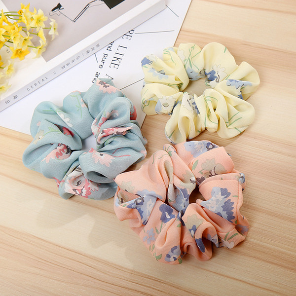 Hair Scrunchies Tie Accesories for Women Girl's Child Ponytail Holder Rope Flowers Hair scrunchie Hair bands Spring Headbands 100pcs FQ1016