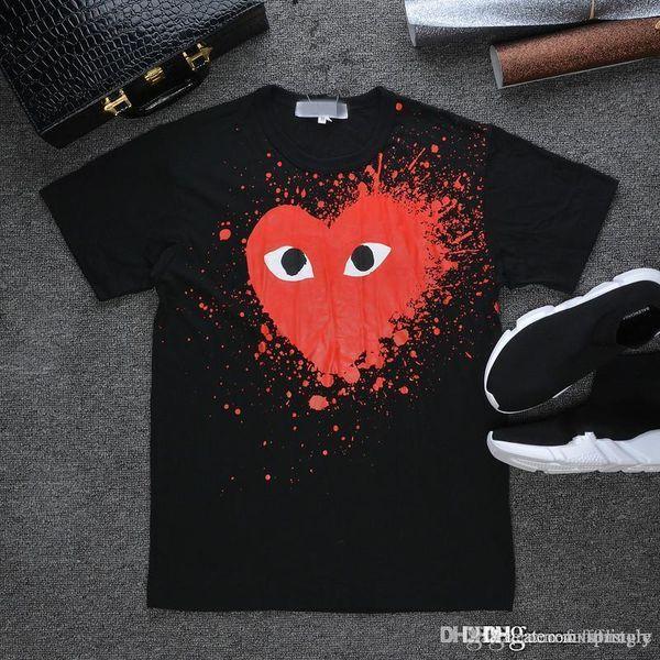 2017 Лучшее Качество ОТДЫХА Сердце Emoji PLAY J Футболка Хлопок с короткими рукавами черные чернила большой красный любовь с коротким рукавом