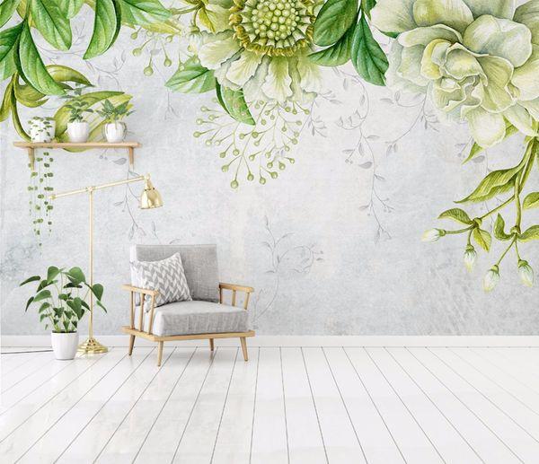 Großhandel Bacaz Custom 3D Wandbilder Tapete Grün Handgemalte  Blumenwandmalerei Wohnzimmer Schlafzimmer Home Wandbild Tapete Blume Von  Vvsong, $17.19 ...