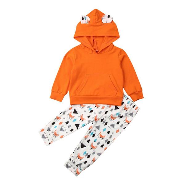 Осень малыши девушка мальчик одежда наборов 1-5Y Симпатичные животных печати Одежда хлопок Толстовка + Брюки Нижнего Set