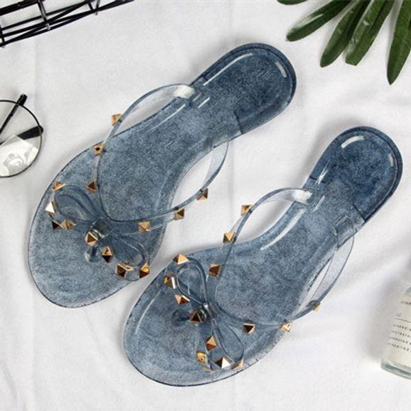 2019 yeni stil Kadın Yaz Sandalet Perçinler büyük ilmek Terlik Çevirme Plaj Sandalias Femininas Düz Jöle Tasarımcı Sandalet boyutu 36-41