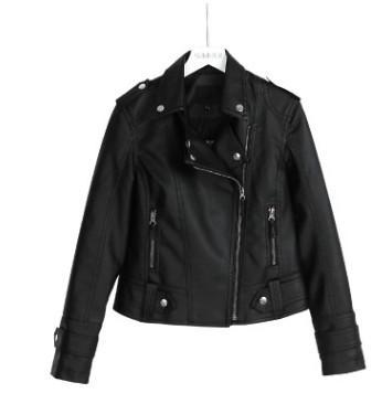 2019 new fashion designer elaborately crafted women's fashion trend black slim street dress round neck PU top jacket