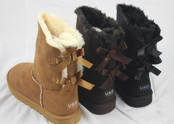Kadın Erkek Su geçirmez ve Anti-kirlenme Kar Boots Yeni Klasik Mini Belle Bow Boots Yuvarlak Kafa Moda Çift Şerit
