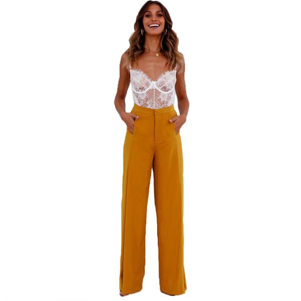 2018 Primavera Verano pantalones Mujeres Casual Pantalones de Pierna Ancha Pantalones Sueltos Para Mujeres Sólido de Lado Dividido Alto Wasit Ropa Femenina