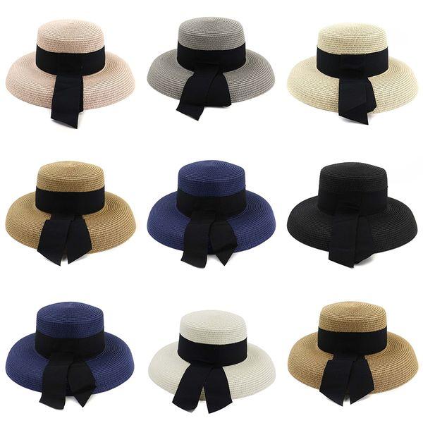 Floppy Foldable Ladies Straw Hat Wide Brim Hepburn Wind Summer Outdoor Travel Beach Holiday Seaside Sun Hat