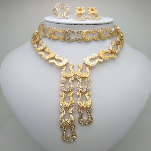 Wholesale Fashion African  Jewelry Set Nigeria Dubai Gold Jewelry India Cubic Zirconia Bridal Sets