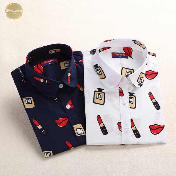 Blusa de algodão Mulheres Blusas manga comprida Plus Size Top Ladies Femme Turn-Down Collar Mulheres camisa da forma bonito
