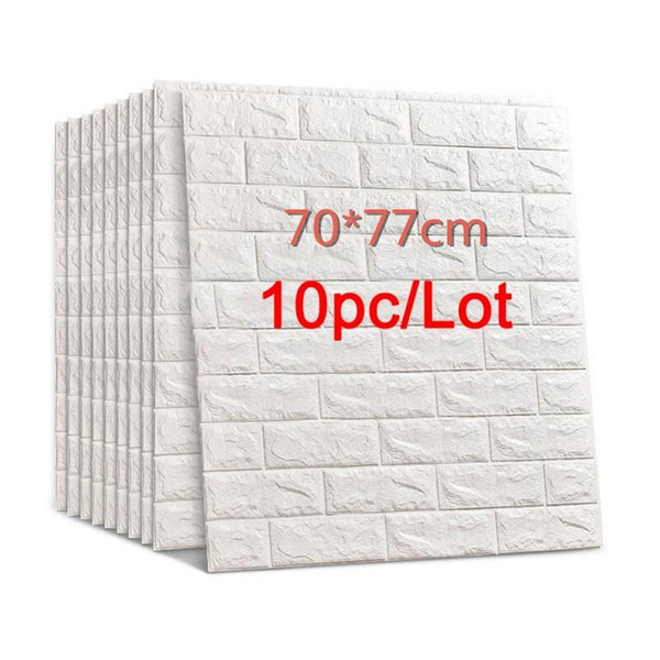 top popular 70*77 3D Brick Wall Stickers DIY Self Adhensive Decor Foam Waterproof Wall Covering Wallpaper For TV Background Kids Living Room 2021