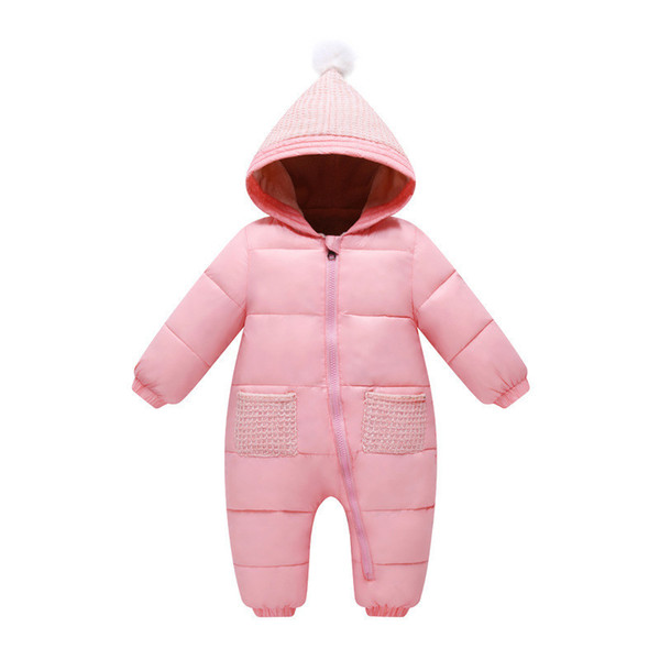 good quality Newborn Girls Warm Rompers Infant Girls Winter Pure Color Thicken Jumpsuit Baby Girls Cotton Plus Velvet Overalls