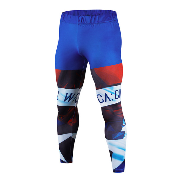 Men's 3D printed tights stretch super good running pants wicking breathable fitness bodybuilding pants