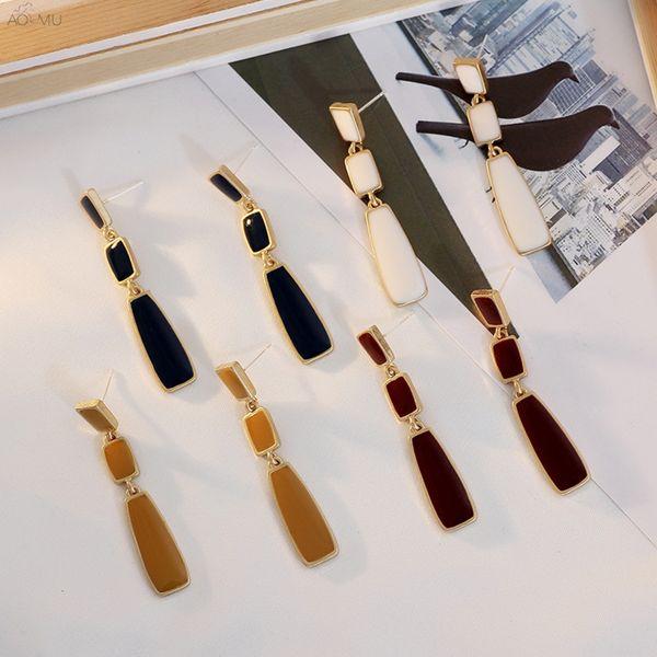 aomu 2019 korea fashion colorful enamel simple geometric square water drop long tassel drop earrings for women girl party gifts