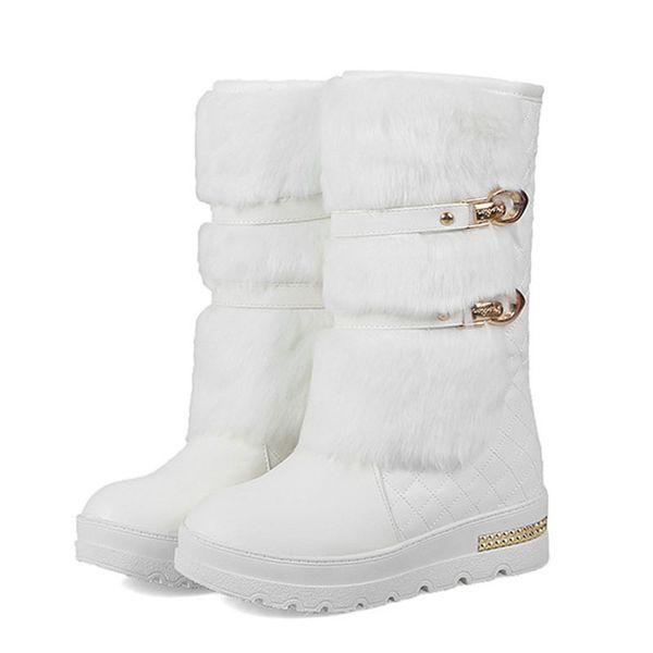 La venta caliente Mujeres de moda las botas de piel falsa plataforma zapatos de las señoras de invierno Mantener Caliente Tamaño de la nieve Botas