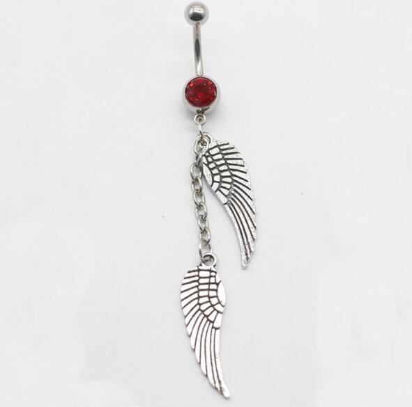 Vintage Angel Wings Tassel Belly Navel Rings Crystal Button Body Piercing Jewelry Belly Rings Earrings In Navel Piercing rings