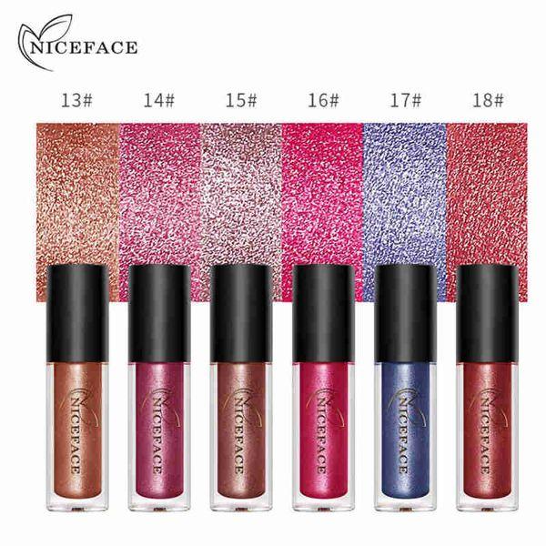 NICEFACE 6 Color Diamond Shine Metallic Lipstick Liquid Waterproof 24H Lasting Lip Gloss Paint Tattoo Sexy Nude Pigment Cosmetic