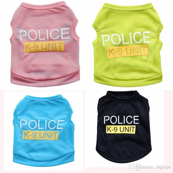 Cheapest Teddy Dog Apparel Fashion Cute Dog Summer Vest Pet Sweater Puppy Shirt Soft Coat Jacket Summer Dog Cat Clothes Police K -9 Unit