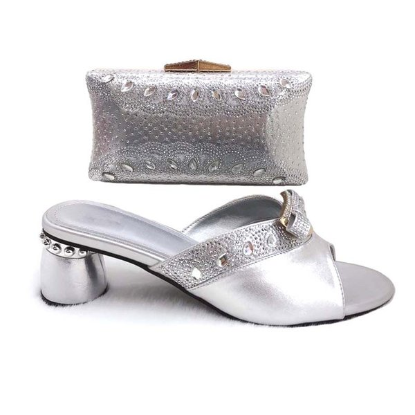 Italian Shoe and Bag Set for Party In Women Nigerian Women Wedding Shoes and Bag Set with Rhinestone Women Shoes High Heel