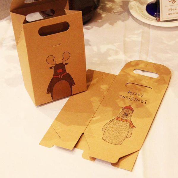 artisanat rétro sac de papier boîte-cadeau Foulard en soie Souvenir d'emballage Boîte de Noël Sac d'impression Elk Ours 1mg UU