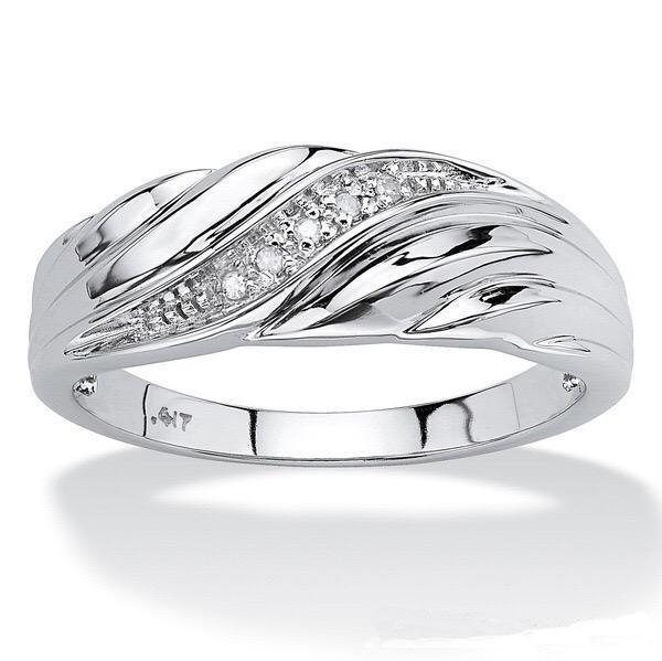 Diamond-inlaid couple Engagement Wedding Ring Sliver Color Men Women's 1Set Top Quanlity for Gift