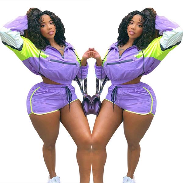 Сексуальные повседневные наряды женщин лоскутное полосатый спортивный костюм с длинным рукавом печати брюки короткие штаны из двух частей комплекта фиолетовый цвет