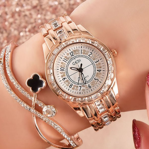 Fashion Watch Women Diamond Designer Gold Dress Quartz Ladies Wrist Watches Female Clock Montre Femme Reloj Mujer