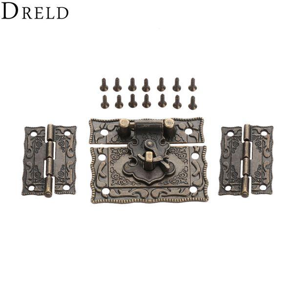 top popular ardware Hasps DRELD 2pcs Suitcase Cabinet Hinge 1pc Antique Bronze Jewelry Wooden Box Latch Hasp Clasp Vintage Hardware Furniture Access... 2021