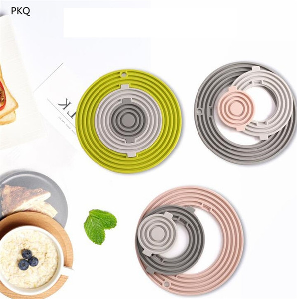 5Set/lot Non-Slip Plate Resistant High Temperature Kitchen Pads Silicone Placemat Round Wave Type Plate Table Mats