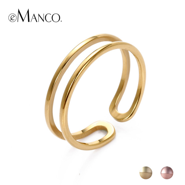 Manco Stainless Steel For Women Open Adjustable Double Layer Rings In Gold Color For Wedding Anniversary Gifts eManco Stainless Steel Ri...