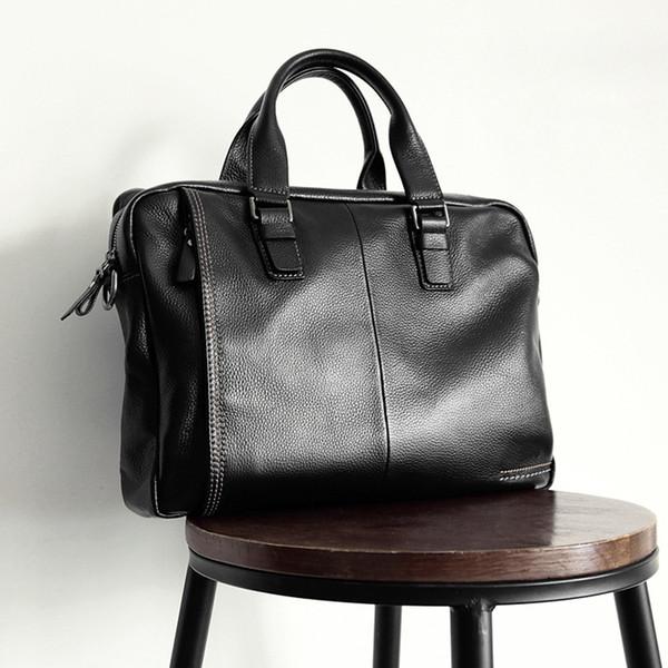 "100% Guarantee Natural Genuine Leather Men Briefcase Korean Fashion Men Leather Handbag 14"" Laptop Bag Business Briefcases"